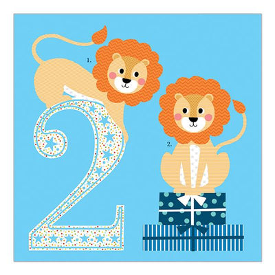 Soul 2nd Birthday Card Blue Lions