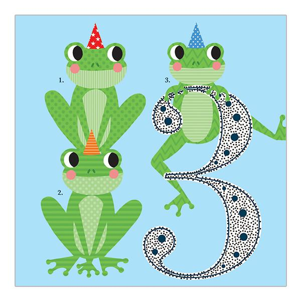 Soul 3rd Birthday Card Blue Frogs