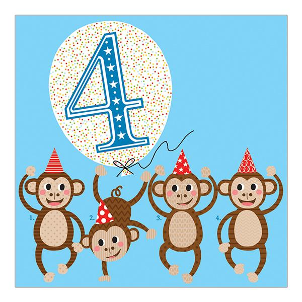 Soul 4th Birthday Card Blue Monkeys