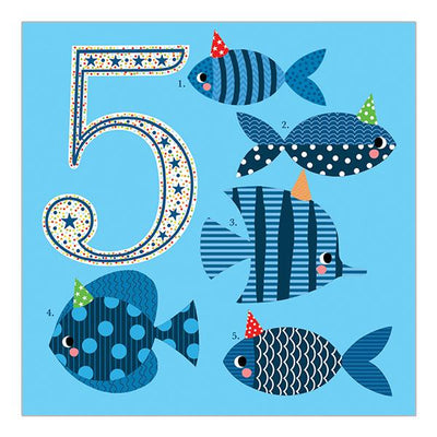 Soul 5th Birthday Card Blue Fish