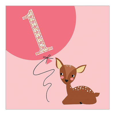 Soul 1st Birthday Card Pink Deer