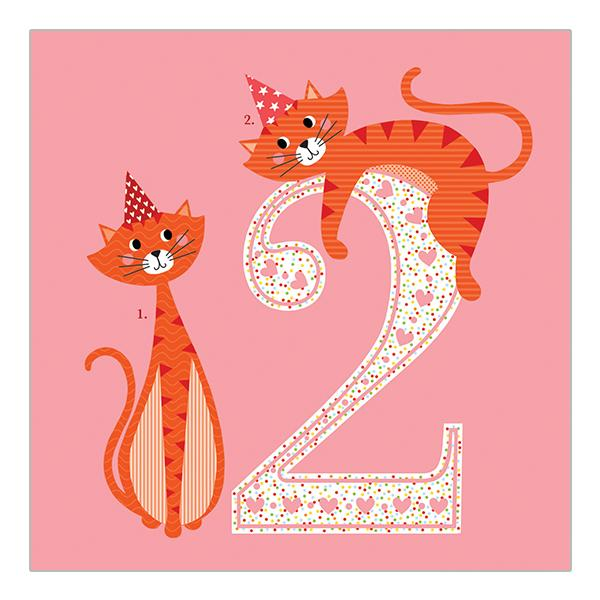 2nd Birthday Card Pink Cats