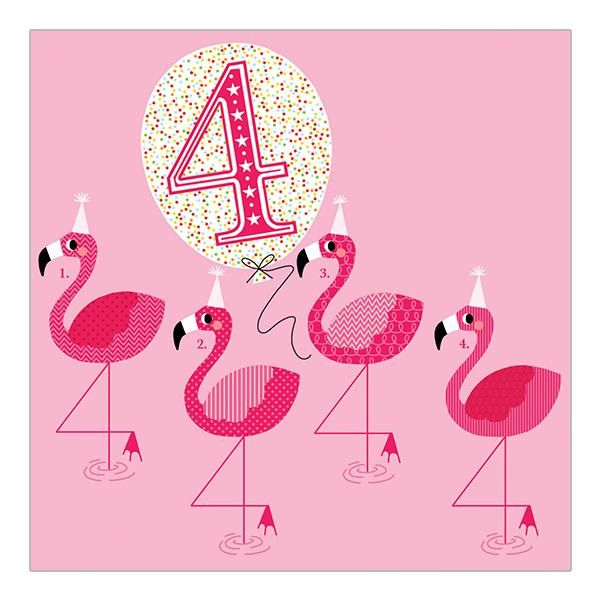Soul 4th Birthday Card Pink Flamingos
