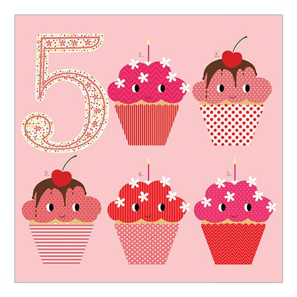 Soul 5th Birthday Card Pink Cakes