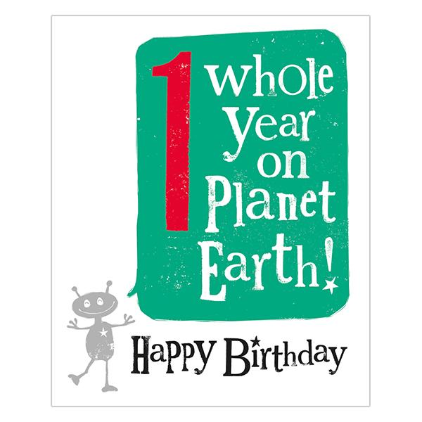 The Bright Side 1st Birthday Card Planet Earth