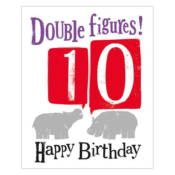 The Bright Side Double Figures! 10 Happy Birthday Card