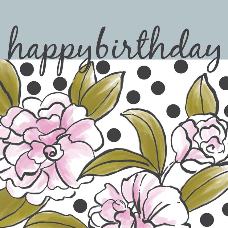 Happy Birthday Spots and Flowers Card by Soul