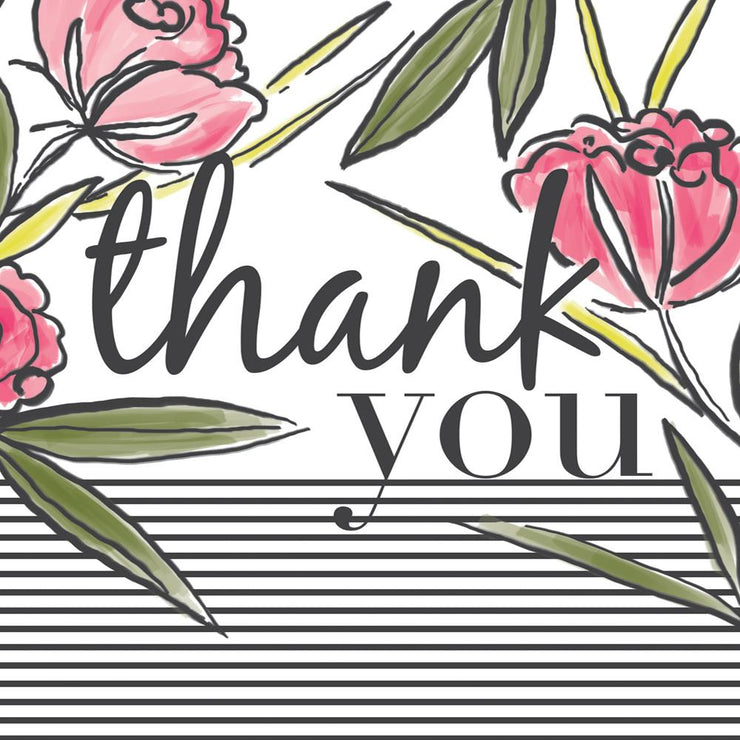 Thank You Stripes and Flowers Card