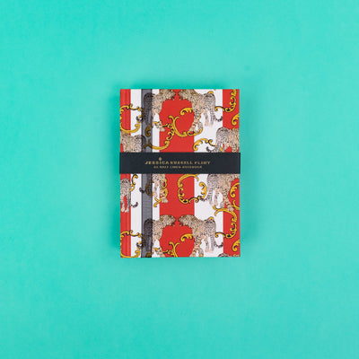 A6 Luxury Notebook in red with Leopards - JRNBS04