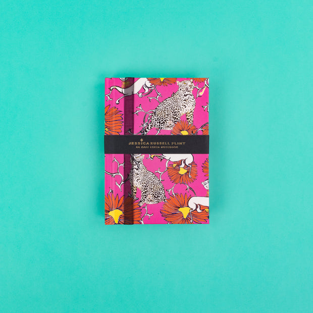 A6 Luxury Notebook in pink with Leopards JRNBS05