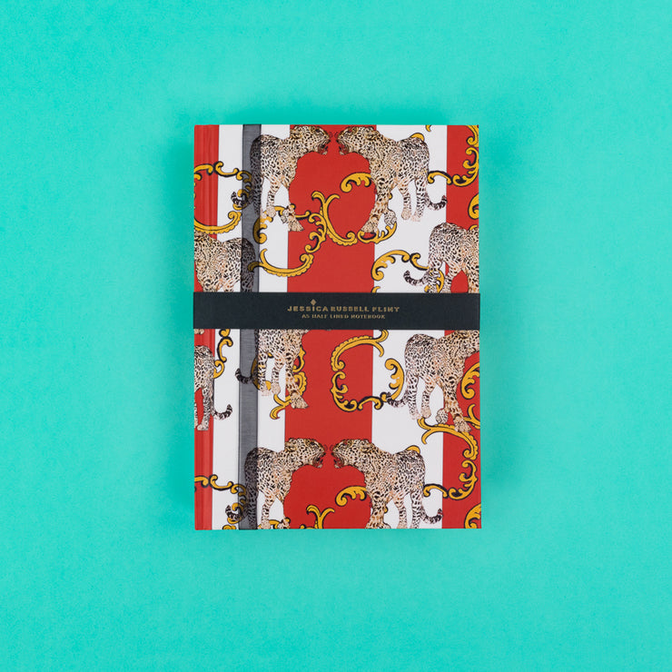 A5 Luxury Notebook in red with Leopards - JRNBM04