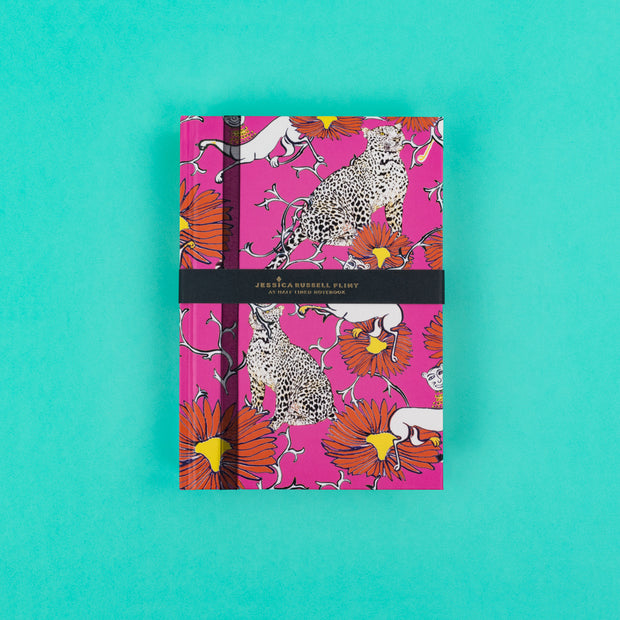 A5 Luxury Notebook in hot pink with leopards & folk people