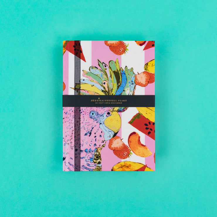 A5 Luxury Notebook in pink with Parrot - JRNBM06