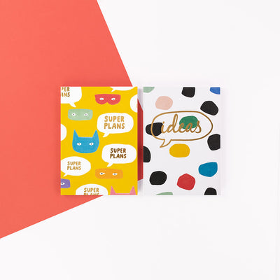 "Brush and Moon Two Pack Notebooks ""Ideas"" - BMNBP02"