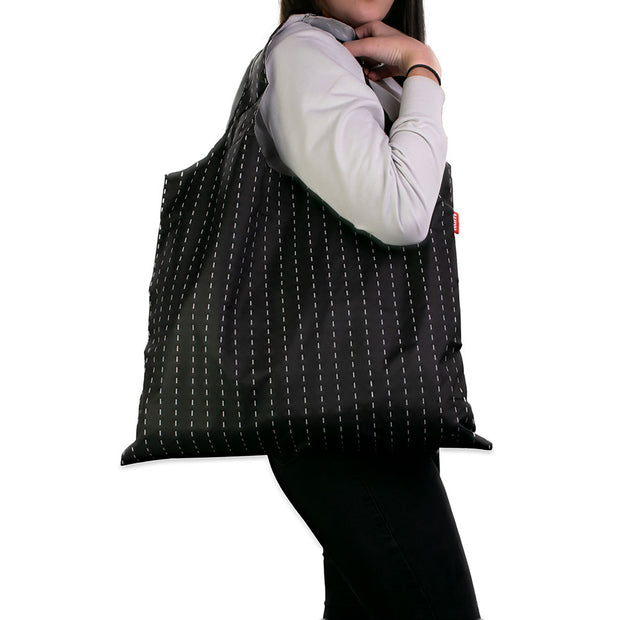 Karri Reusable Shopping Bag - Black Pinstripe