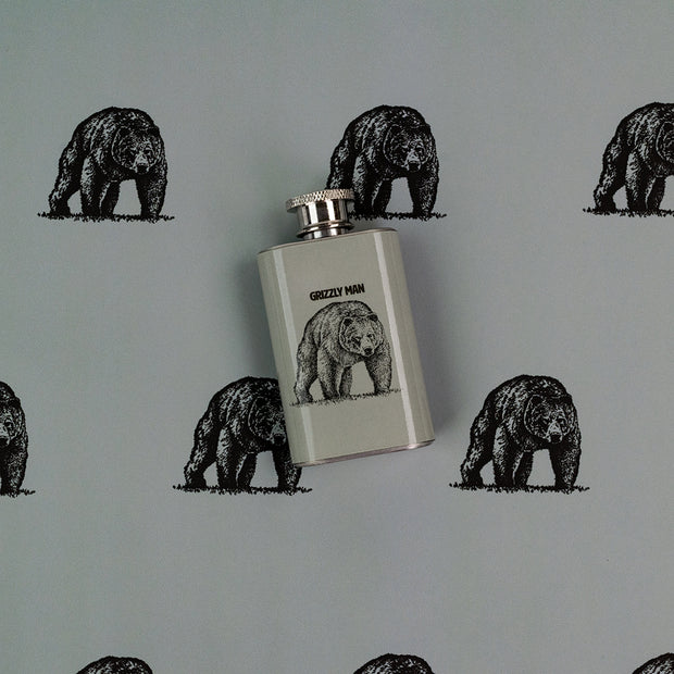 Grizzly Man Shot Flask