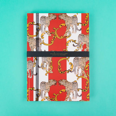 A4 Jessica Russell Flint Notebook Red with Leopards JRNBL04