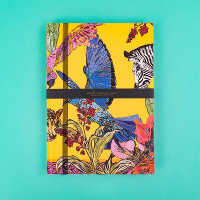 A4 Luxury Notebook with Zebras and Exotic Birds JRNBL01