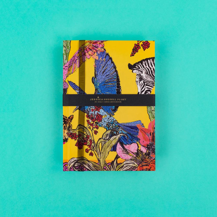A5 Luxury Notebook with Zebra and Exotic Birds