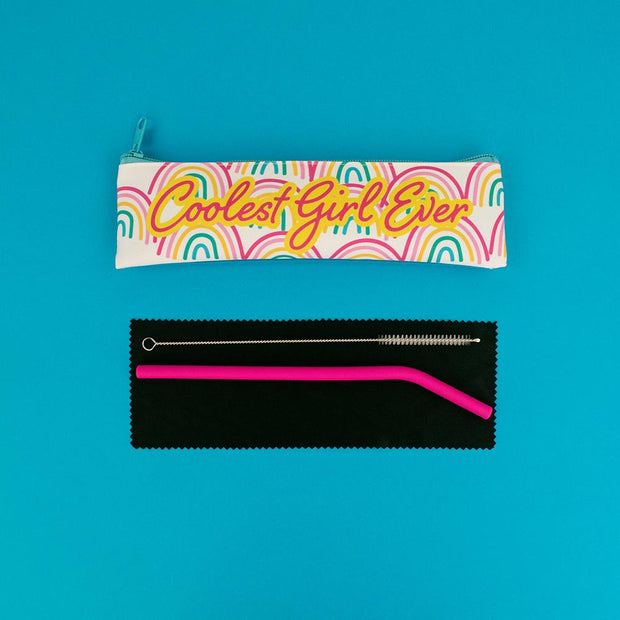 Really Good Coolest Girl Ever Reusable Straw Set