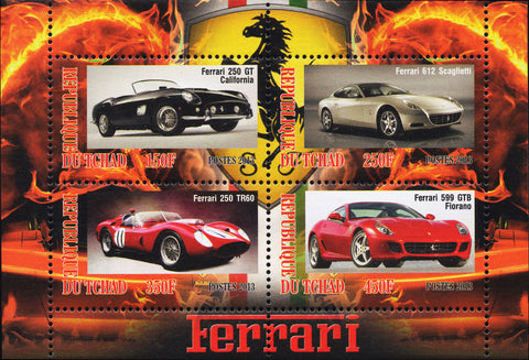 Cars Ferrari Luxury Sport Souvenir Sheet  4 stamps 2013  Mint NH