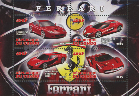 Car Ferrari Sport Souvenir Sheet of 4 Stamps 2013 Mint NH
