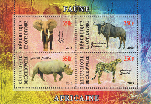 Cote D'Ivore Wild Animals elephant Suvenir sheet of 4 stamps MNH