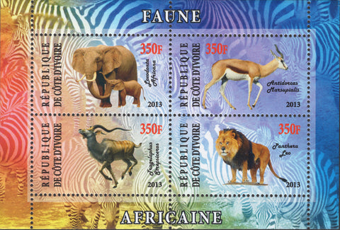 Cote D'ivoire Wild Animals Elephant Lion Antelope Springbok Souv. Sheet of 4 Sta