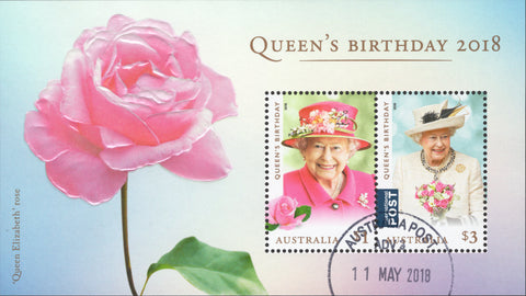 Australia stamp Queen Elizabeth Rose Flower Souvenir sheet