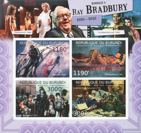 Ray Bradbury Authors Famous People Cinema Souvenir Sheet of 4 MNH
