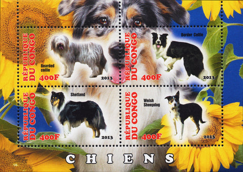 Stamps animals dogs Souvenir Sheet of 4 stamps 2013 Congo MNH