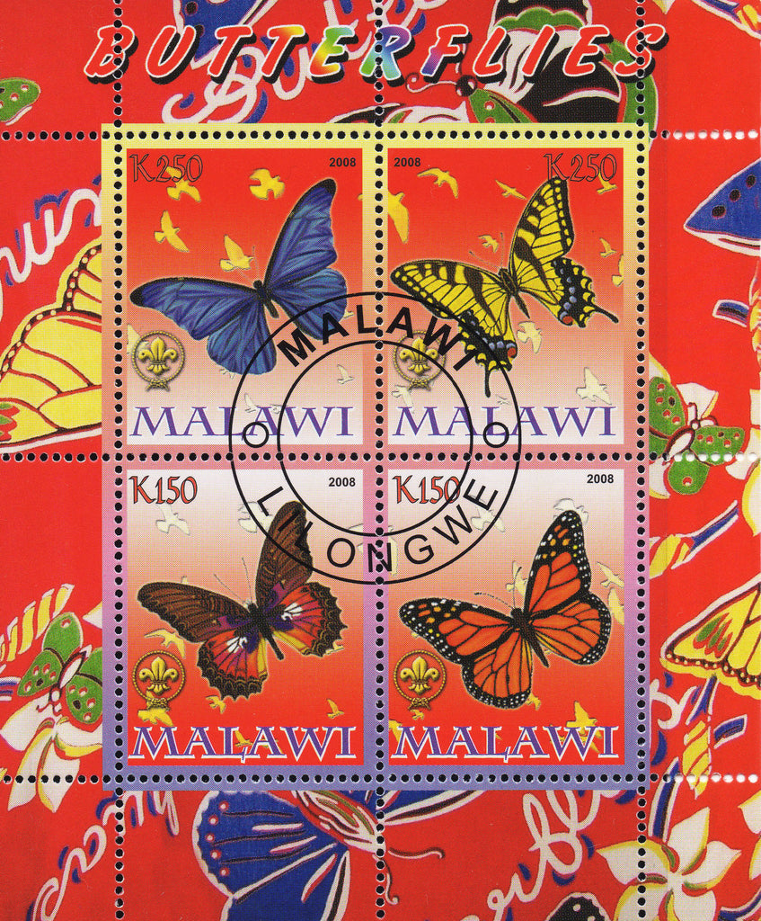 Malawi stamps butterflies Souvenir Sheet of 4 stamps