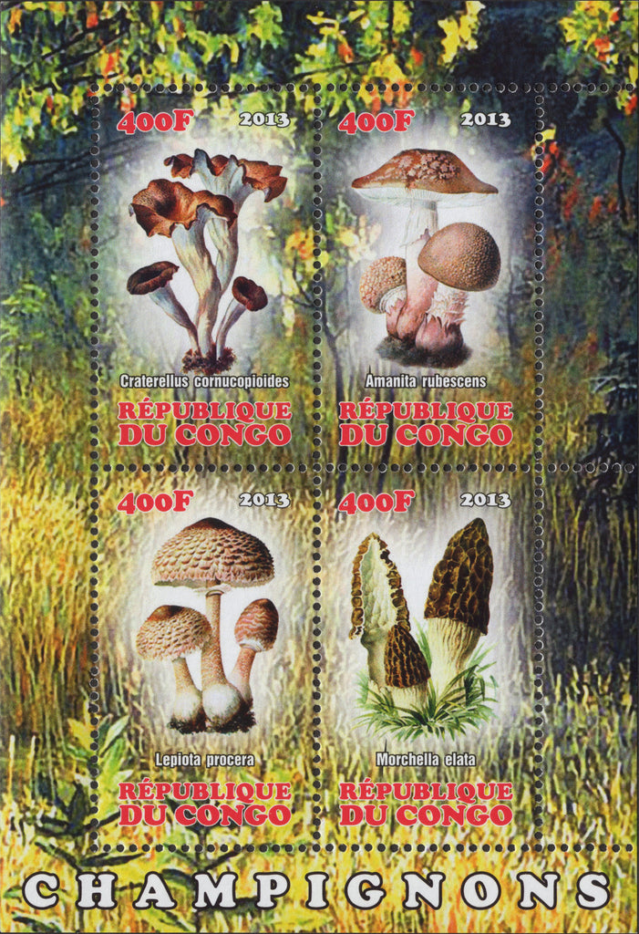 Congo Mushrooms Nature Souvenir Sheet  of 4 M NH