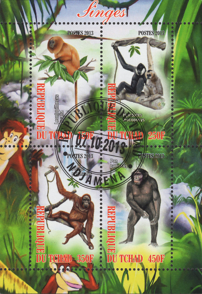Primates Monkeys Souvenir Sheet of 4 Wild Life
