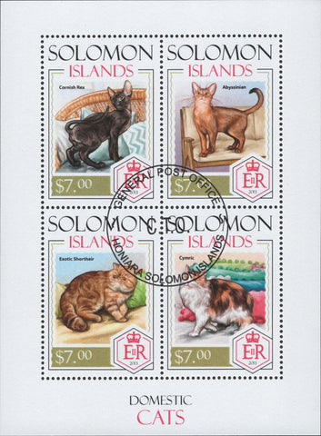 Solomon Islands Cats Domestics Animals Souvenir Sheet of 4