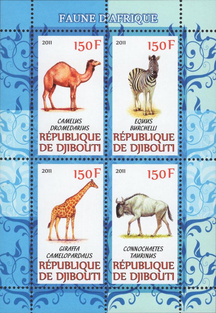 Djibouti Wild Animals Camel Giraffe Souvenir Sheet of 4 Stamps Mint NH