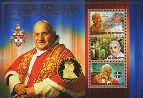 2014 3 Diff Heads of Roman Catholic Church The Popes Gold Souvenir Sheet MNH