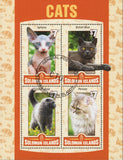 Solomon Islands Cats Domestic Animals Souvenir Sheet of 4 Stamps