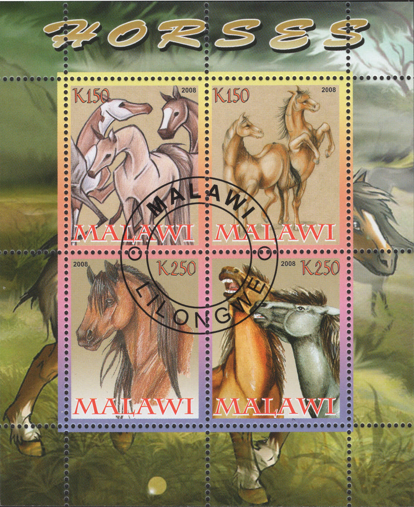 Malawi Horses Animals Souvenir Sheet of 4 stamps
