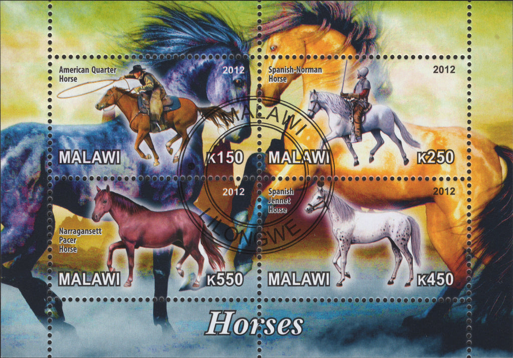 Malawi Horses Cowboy Animals Souvenir Sheet include 4 stamps