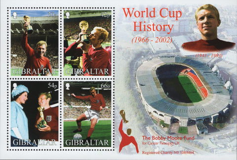 Gibraltar Sport soccer World cup 1966 Souvenir Sheet of 4 stamps Mint NH