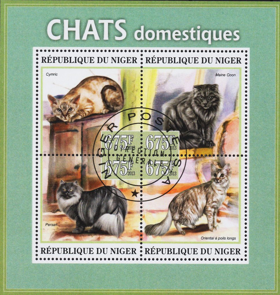 Niger  Domestic Cats on Stamps - Souvenir Sheet of 4
