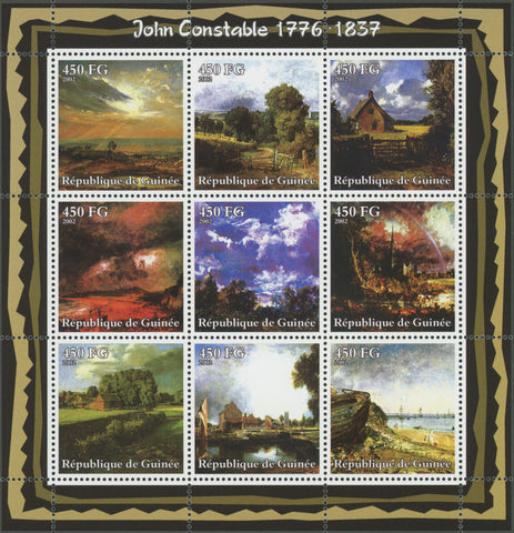 Guinea, John Constable, Art, Paintings, Souvenir Sheet of 9 stamps, Mint NH.
