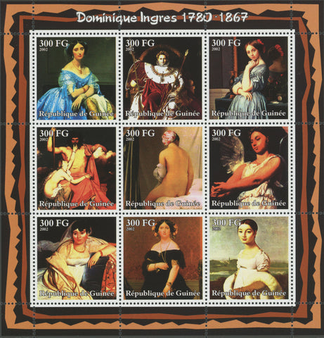 Guinea, Jean-Auguste-Dominique Ingres , Art, Painting, Souvenir Sheet of 9 stamp