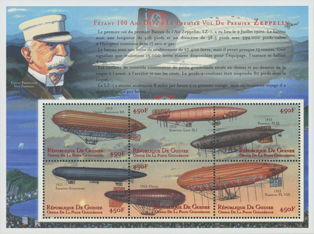 Zeppelin, Transportation, Souvenir Sheet of 6 stamps, Mint NH.