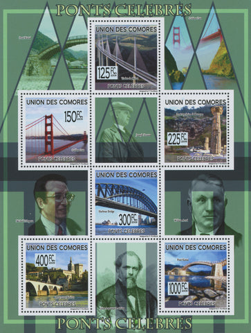 Famous bridges, architecture, Souvenir Sheet of 6 stamps, Mint NH.