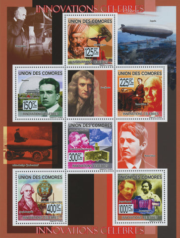 Famous innovations, Technology, Souvenir Sheet of 7 stamps, Mint NH.