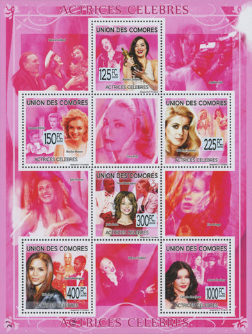 Comoros, Famous actresses, Souvenir sheet of 6 stamps, Mint NH