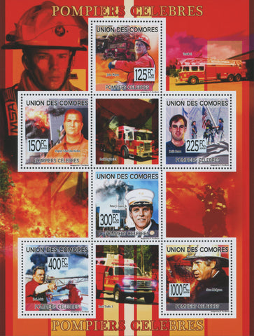 Comoros, famous firefighters, Souvenir Sheet of 6 stamps, Mint NH