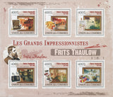 Painting, Art,  Impressionism, Frits Thaulow, Souvenir Sheet of 6 stamp MNH